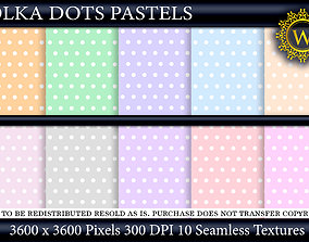 Polka Dots Pastels 10 Seamless Textures 3D model