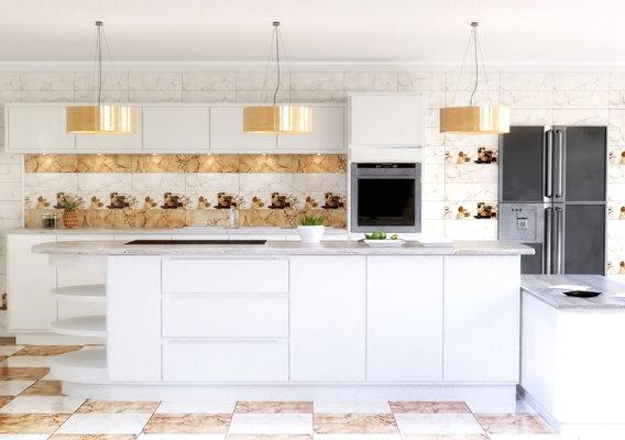 Modern White Spacious Kitchen Interior