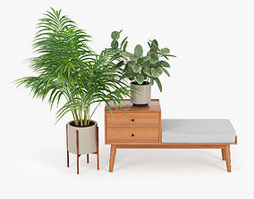 Mid century storage bench acorn 3D model