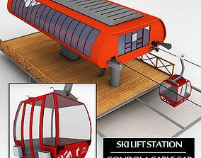 Ski lift station gondola cable car 3D model