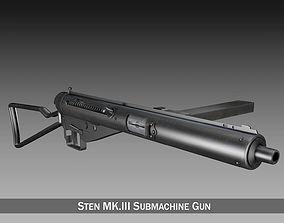 3D model Sten MK III Submachine Gun battle