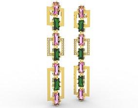 Shiny Earring Baguete Jewelery gold 3D print model