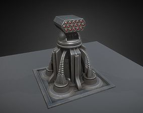 Futuristic Air Defense Gun Tower Animated 3D asset