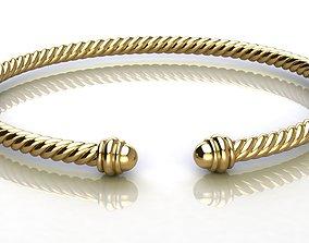 3D print model Spiral Cable Bracelet gold