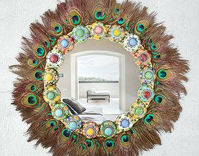 Maximalist Gemmed Cloisonne Wreath Mirror With 3D model