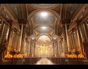 Church Cathedral Interior Environment 3D model