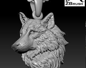 3D print model Wolf head pendant
