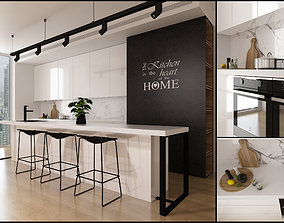 Kitchen interior 3D plant