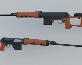 SVD Sniper Rifle 3D model shell