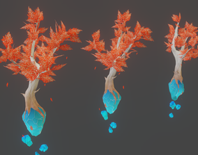Stylized Hand Painted Crystal Tree 3D asset
