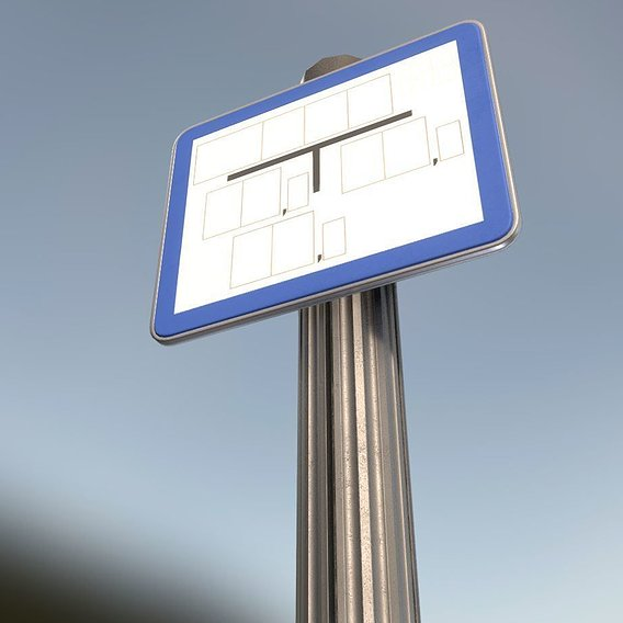 Low-poly sign for hydrant blue with post and frame