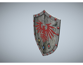 3D model game-ready low poly shield