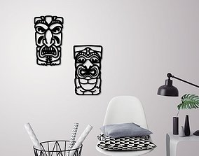 3D printable model African mask wall decoration 2 Masks