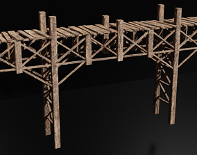 Wooden Bridge Low-Poly Medieval 3D Model game-ready 2