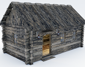 Wooden Hut With Interior 3D model