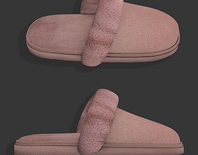Cotton slippers with fur shoes 3D model