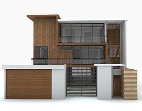Modern Wood House 3D model