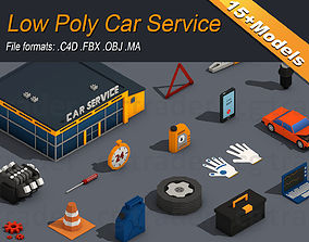 Low Poly Car Service Engine Repair 3D asset low-poly