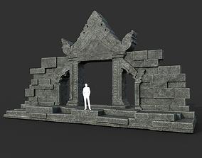 Low poly Black Ruin Asia Temple Gate 01 3D asset