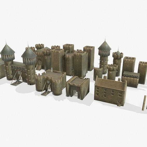 Medieval castle constructor prop set