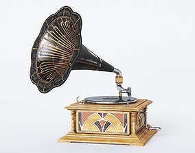 3D asset realtime Gramophone Art Deco