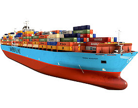 3D asset realtime Maersk container ship 300m