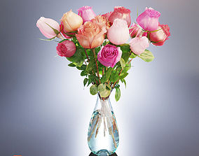 A bouquet of roses in a vase 3D