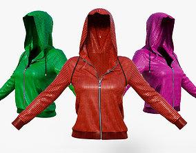 3D asset Black Leather Jacket