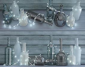 3D model Garland lights and bottle