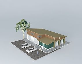 3D model Cafeteria with Warehouse