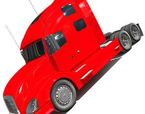 Red Truck Tractor 01 3D model