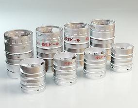 3D model low-poly Beer Barrel 10L 20L
