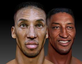 Scottie Pippen NBA 2 busts 3D print model portrait