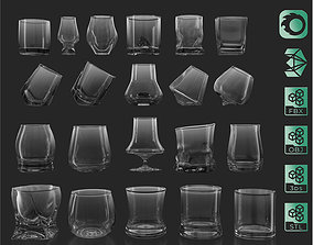 21 Whiskey Alcohol Glass with drink Set Pack 3D model