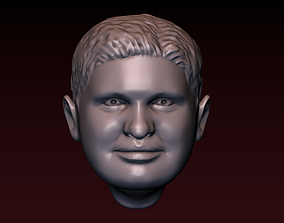 Male head 19 Man head - fat face 3D print model