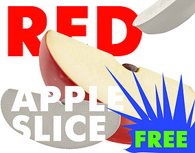 RED APPLE SLICE WITH SEED 3D MODEL