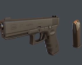 3D asset Glock 17 with magazine