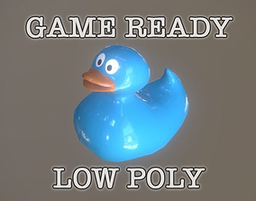 3D asset Blue Bath Duck low-poly game ready