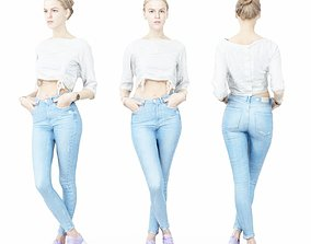 Sporty Girl in Jeans and Pink sneakers Crossing 3D asset