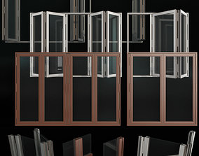 3D Folding stained Glass Aluminum Doors