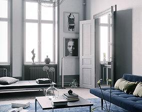living Blue Scandinavian Interior scene 3D model