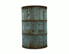 Low Poly Steel Barrel With PBR Material 3D asset