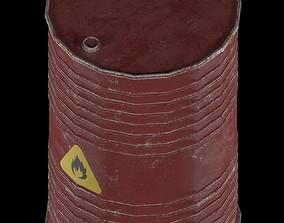 3D asset low-poly Oil barrel fire danger