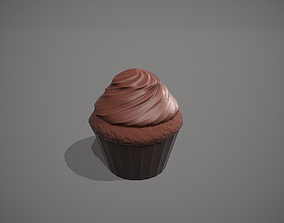 Double Chocolate Cupcake 3D asset
