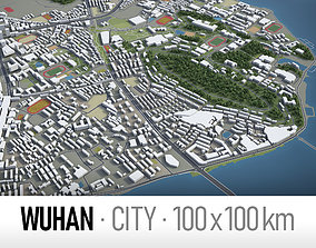 Wuhan - city and surroundings 3D model low-poly