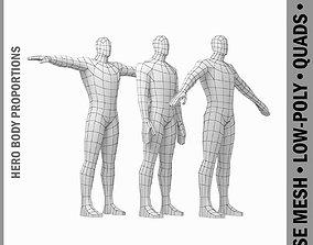3D model Male Hero Base Mesh in Three Poses