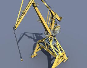 Crane Orange for shipyard cargo terminal or port 3D