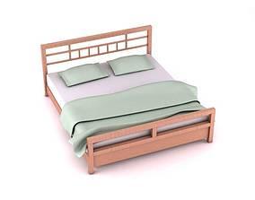 3D Modern Wood Platform Bed