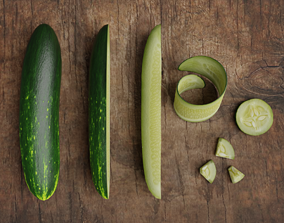 3D model realtime Low Poly photorealistic cucumber