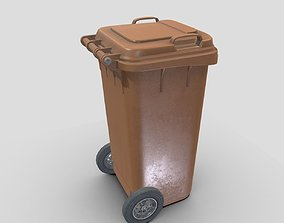 Brown plastic waste bin 240 liters 1075x515x582 3D model